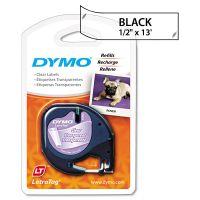 "DYMO LetraTag Plastic Label Tape Cassette, 1/2"" x 13ft, Clear DYM16952"