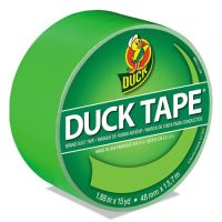 """Duck Colored Duct Tape, 9 mil, 1.88"""" x 15 yds, 3"""" Core, Neon Green DUC1265018"""