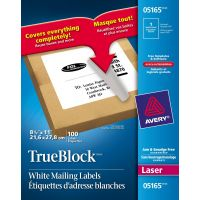 Avery Full-Sheet Labels with TrueBlock Technology, Laser, 8 1/2 x 11, White, 100/Box AVE5165