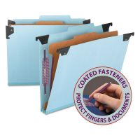 Smead Four Section Hanging Classification Folder, Pressboard/Kraft, Letter, Blue SMD65105
