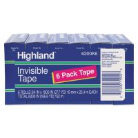 """Highland Invisible Permanent Mending Tape, 3/4"""" x 1000"""", 1"""" Core, Clear, 6/Pack MMM6200K6"""