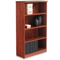 Alera Valencia Series Bookcase, Four-Shelf, 31 3/4w x 14d x 55h, Medium Cherry ALEVA635632MC