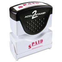ACCUSTAMP2 Pre-Inked Shutter Stamp, Red, PAID, 1 5/8 x 1/2 COS035578