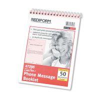 Rediform Desk Saver Line Wirebound Message Book, 6 1/4 x 4 1/4, Two-Part, 50 Forms RED47296