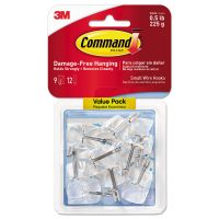 Command Clear Hooks & Strips, Plastic/Wire, Small, 9 Hooks w/12 Adhesive Strips per Pack MMM17067CLR9ES