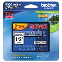 """Brother P-Touch TZe Standard Adhesive Laminated Labeling Tapes, 1/2""""w, Black on Clear, 2/Pack BRTTZE1312PK"""
