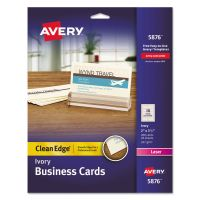 Avery Clean Edge Business Cards, Laser, 2 x 3 1/2, Ivory, 200/Pack AVE5876