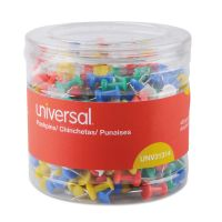 """Universal Colored Push Pins, Plastic, Assorted, 3/8"""", 400/Pack UNV31314"""