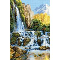 Landscape With Waterfall Counted Cross Stitch Kit NOTM334810