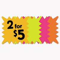 COSCO Die Cut Paper Signs, 5 1/4 x 5 1/4, Square, Assorted Colors, Pack of 48 Each COS090244