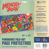 """Memory Book Panoramic Fold-Out Page Protectors 12""""X12"""" 6/Pkg NOTM248683"""