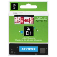 "DYMO D1 High-Performance Polyester Removable Label Tape, 1/2"" x 23 ft, Red on Clear DYM45012"