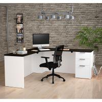 Bestar Pro-Concept Plus Corner Desk in White & Deep Grey BESBES11089917