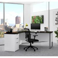 Bestar Pro-Concept Plus L-Desk with Metal Leg in White & Deep Grey BESBES11089117