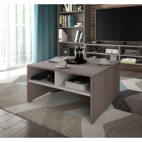 Bestar Small Space 29.5-inch Storage Coffee Table in Bark Gray and White BESBES161611147