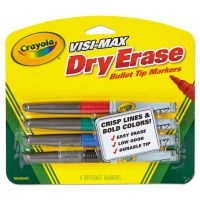 Crayola Dry Erase Marker, Bullet Tip, Fine, Assorted Colors, 4/Set CYO988901