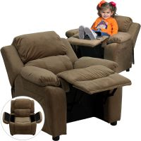 Flash Furniture Deluxe Heavily Padded Contemporary Brown Microfiber Kids Recliner with Storage Arms [BT-7985-KID-MIC-BRN-GG] FHFBT7985KIDMICBRNGG