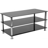 Flash Furniture Riverside Collection Black Glass TV Stand with Stainless Steel Frame FHFHG112441GG