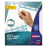 Avery Print & Apply Clear Label Dividers, 5-Tab, White Tab, Letter, 5 Sets AVE11492