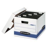 Bankers Box HANG'N'STOR Storage Box, Letter, Lift-off Lid, White/Blue, 4/Carton FEL00784