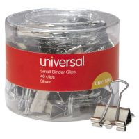 """Universal Small Binder Clips, 3/8"""" Capacity, 3/4"""" Wide, Silver, 40/Pack UNV11240"""