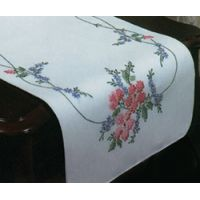 "Stamped White Dresser Scarf For Embroidery 14""X39"" NOTM242904"