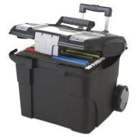 Storex Premium File Cart, 15w x 16 3/8d x 14 1/4 to 30h, Black STX61507U01C