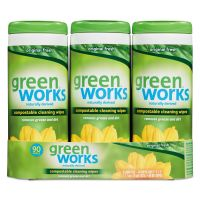 Green Works Compostable Cleaning Wipes, 7 x 7 1/2, Original Scent, 30/Canister, 3/Carton CLO30655