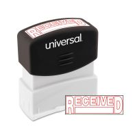 Universal Message Stamp, RECEIVED, Pre-Inked One-Color, Red UNV10067