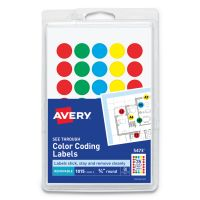 Avery See Through Removable Color Dots, 3/4 dia, Assorted Colors, 1015/Pack AVE05473