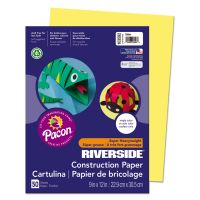 Pacon Riverside Construction Paper, 76 lbs., 9 x 12, Yellow, 50 Sheets/Pack PAC103592