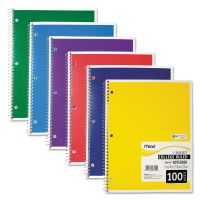 Mead Spiral Bound Notebook, Perforated, College Rule, 11 x 8, White, 100 Sheets MEA06622