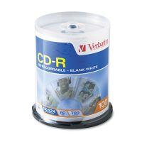 Verbatim CD-R Discs, 700MB/80min, 52x, Spindle, White, 100/Pack VER94712