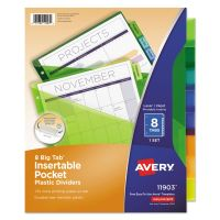 Avery Insertable Big Tab Plastic Dividers w/Single Pockets, 8-Tab, Multi-color Tab, Letter, 1 Set AVE11903