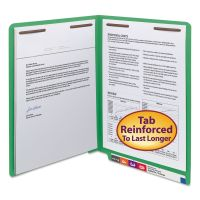 """Smead WaterShed/CutLess End Tab 2 Fastener Folders, 3/4"""" Exp., Letter, Green, 50/Box SMD25150"""