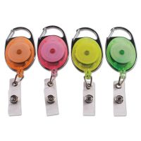 """Advantus Carabiner-Style Retractable ID Card Reel, 30"""" Extension, Assorted Neon, 20/Pack AVT91119"""