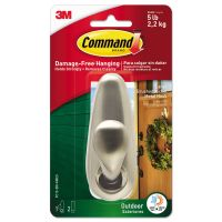 Command All Weather Hooks and Strips, Metal, Large, 1 Hook & 2 Strips/Pack MMMFC13BNAWES