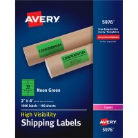 Avery Neon Shipping Label, Laser, 2 x 4, Neon Green, 1000/Box AVE5976