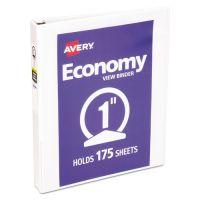 """Avery Economy 3-Ring View Binder, 1"""" Capacity, Round Ring, White AVE05711"""