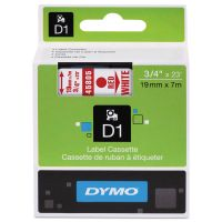 "DYMO D1 High-Performance Polyester Removable Label Tape, 3/4"" x 23 ft, Red on White DYM45805"