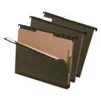 Pendaflex SureHook Reinforced Hanging Folder, 1 Divider, Letter, 1/5 Tab, Green, 10/Box PFX59253