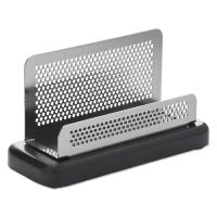 Rolodex Distinctions Business Card Holder, Capacity 50 2 1/4 x 4 Cards, Metal/Black ROLE23578
