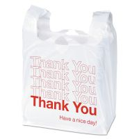 "Universal Plastic ""Thank You"" Shopping Bag, 11.5 x 3.15 x 22, 0.55 mil, White/Red, 250/BX UNV63036"