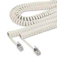 Softalk Coiled Phone Cord, Plug/Plug, 25 ft., Ash SOF42215