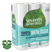 Seventh Generation 100% Recycled Toilet Paper, 2-Ply, White, 4 x 4 Sheet, 240 Sheets/Roll, 24 Rolls/Pack, 2 Packs/Carton SEV13738CT