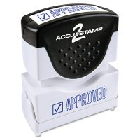 ACCUSTAMP2 Pre-Inked Shutter Stamp, Blue, APPROVED, 1 5/8 x 1/2 COS035575