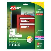 Avery Easy Align Self-Laminating ID Labels, Laser/Inkjet, 1 1/32 x 3 1/2, White, 250 AVE00757