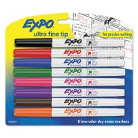 EXPO Low-Odor Dry-Erase Marker, Ultra Fine Point, Assorted, 8/Set SAN1884309