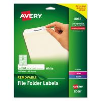 Avery Removable 1/3-Cut File Folder Labels, Inkjet/Laser, .66 x 3.44, White, 750/PK AVE8066
