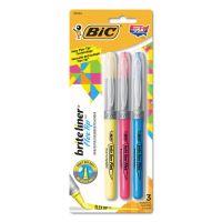 BIC Brite Liner Flex Tip Highlighters, Brush Tip, Assorted Colors BICGBLBP31AST